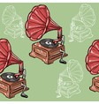 seamless background with vintage phonograph vector image vector image