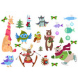 set adorable christmas winter animals and fish vector image vector image