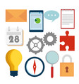 set business document information with gears and vector image