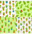 set four seamless patterns with cactuses and vector image