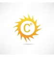 Sun and Celsius mark icon vector image vector image