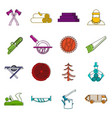 timber industry icons doodle set vector image vector image
