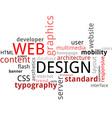 word cloud web design vector image vector image