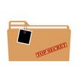 file folder with red rubber stamp top secret vector image
