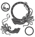 Set of black and white with squid vector image