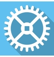 Clock Gear Flat Square Icon with Long Shadow vector image