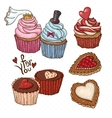Doodle set elements with Cookies and Cupcakes vector image