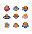 basketball logo emblem icons collections vector image vector image
