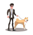 blind person with guide dog vector image vector image