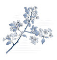 Blooming apple-tree branch in stylized blue shades