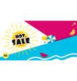 bright sale banner template design with summer sun vector image vector image