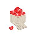 Broken Hearts in A Wooden Cargo Box vector image vector image