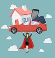 Business woman superhero carrying debt burden vector image vector image