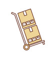 cart with boxes carton delivery icon vector image vector image
