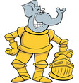 Cartoon smiling elephant wearing a suit armor