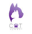 cat care logo violet modern gradient on white vector image