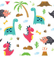 cute dinosaur seamless pattern vector image
