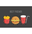 Cute fast food burger soda french fries vector image