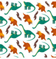 cute pattern with colorful cartoon dinosaurs vector image