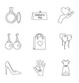 day of mom icon set outline style vector image vector image