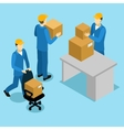 Delivery Men At Office Isometric Design vector image