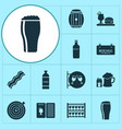 drink icons set with drink menu beer with vector image