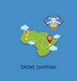dron delivers the parcel to the designated place vector image