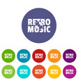 festival retro music icons set color vector image vector image