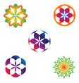 floral emblem pattern set vector image vector image