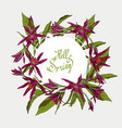 flowers lilies round frame hello spring vector image vector image