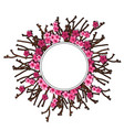flowers of cherry wreath and twigs holiday concept vector image vector image