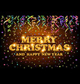 gold merry christmas and happy new year wood vector image vector image