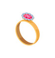 gold ring with pink stone isolated vector image vector image