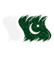 grunge brush stroke with national flag of pakistan vector image