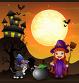 halloween background with girl witch holding broom vector image vector image