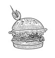 hamburger sandwich sketch engraving vector image vector image