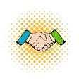 Handshake icon comics style vector image vector image
