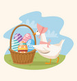 happy easter card with duck and eggs painted in vector image vector image