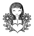 happy woman with flowers branches and heart vector image vector image