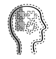 Human head with puzzles inside vector image vector image