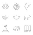 india icon set outline style vector image vector image