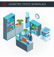 isometric modern workplace vector image vector image