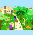 kids cartoon on the theme of harvest vector image vector image