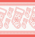 knitted christmas socks seamless pattern in red vector image vector image