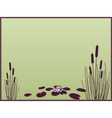 lily and cattails background vector image vector image
