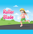 little girl roller blading vector image