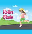 little girl roller blading vector image vector image