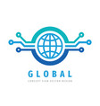 logo design global electronic technology computer vector image