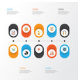 multimedia flat icons set collection of band ear vector image vector image
