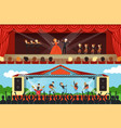opera singers and rock band performing on stage vector image